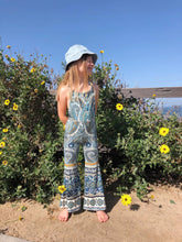 Blue Paisley Knit Overalls