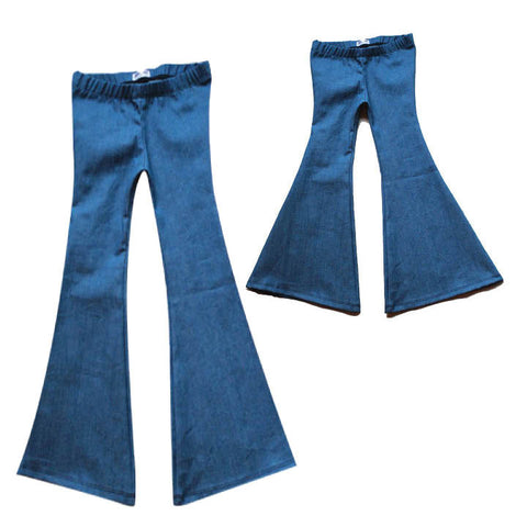 Mama and Babe Harlow Jade Blue Denim Bell Bottom Set