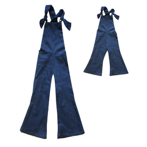 Mama and Babe Denim Bell Overalls Set