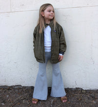 grey ribbed stretch knit bell bottoms