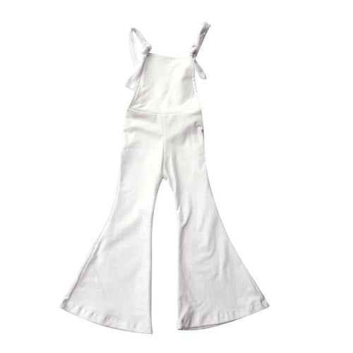 Women's White Denim Bell Overalls