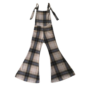 Women's Amber Plaid Knit Stretch Overalls