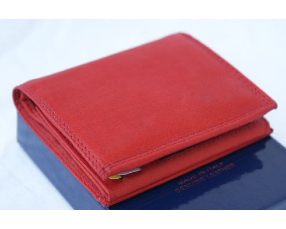 Italian leather wallet unisex - Light Red