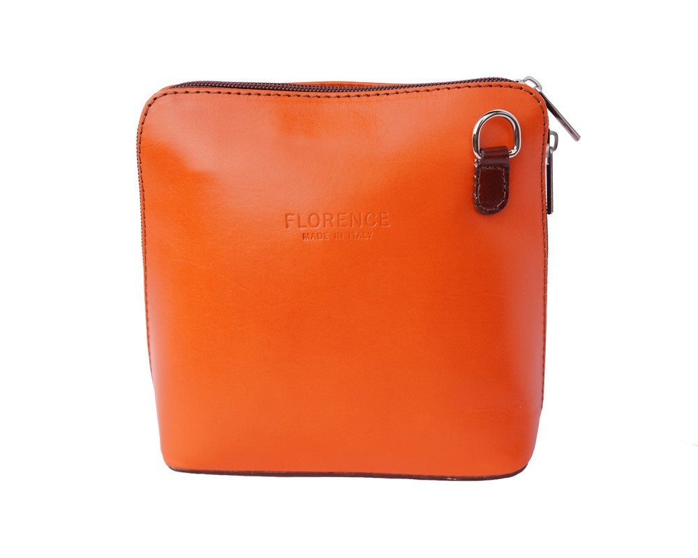 Italian small shoulder and cross body bag for women - Orange/Brown