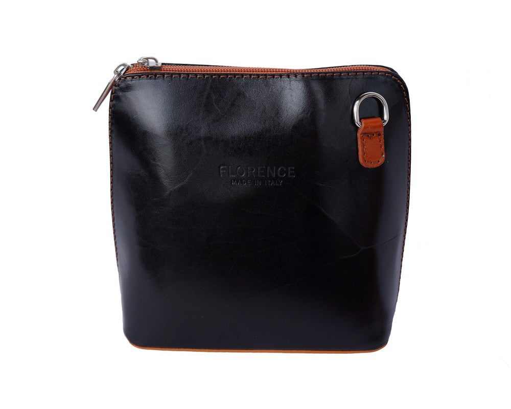 Italian small shoulder and cross body bag for women - Black/Leather