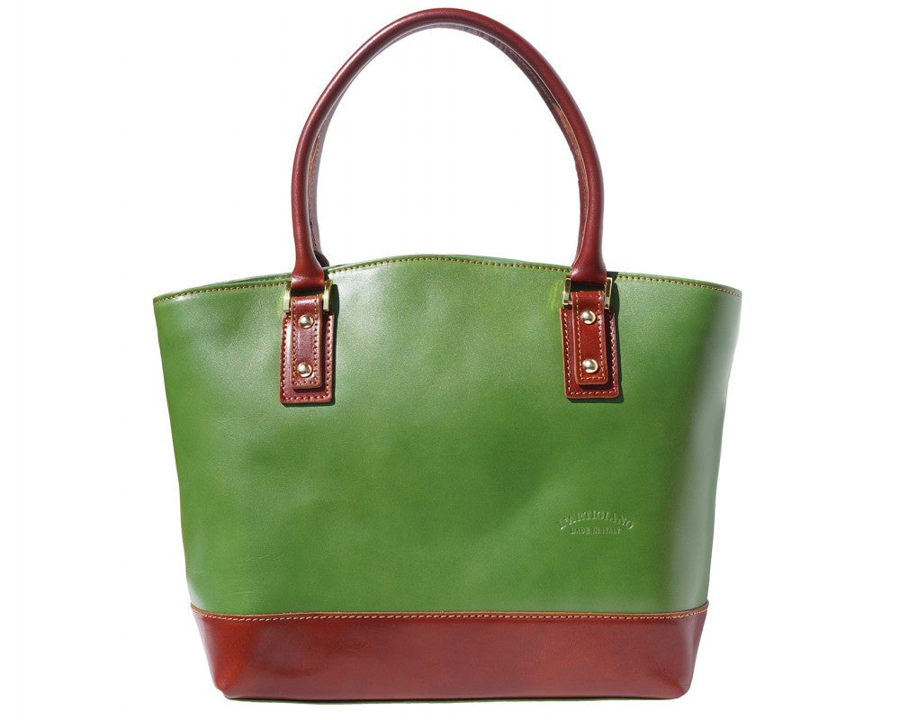 Italian Tote handbag for women - Green/Brown