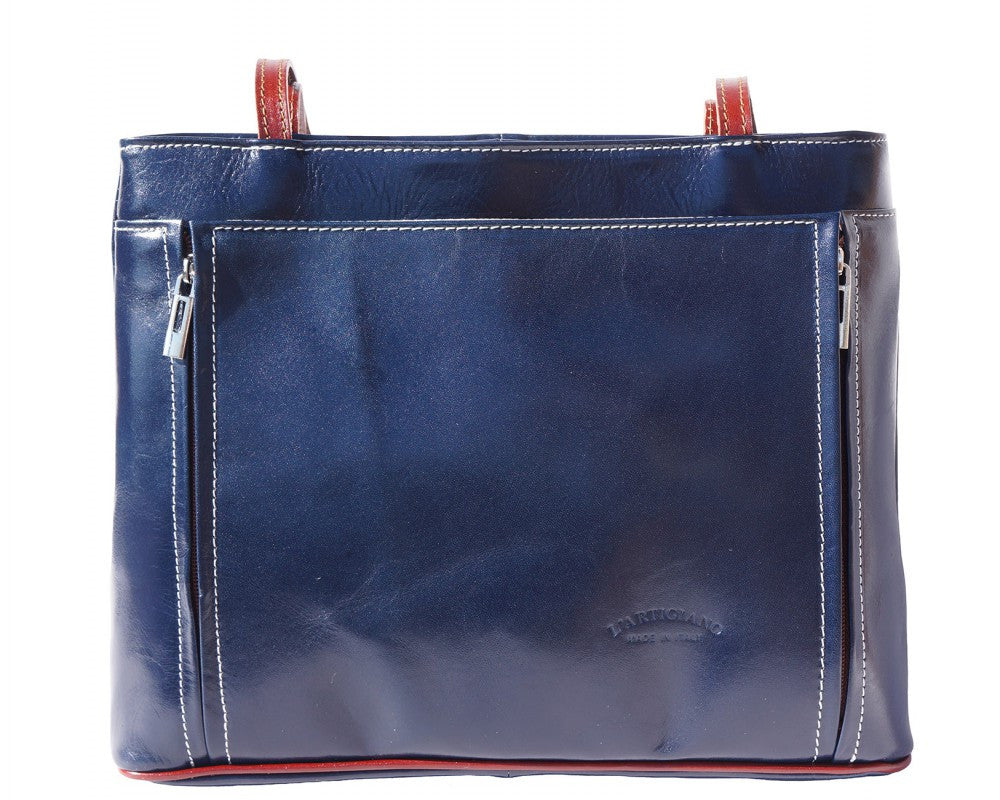Italian Handbag with double leather handle for Women - Blue/Brown