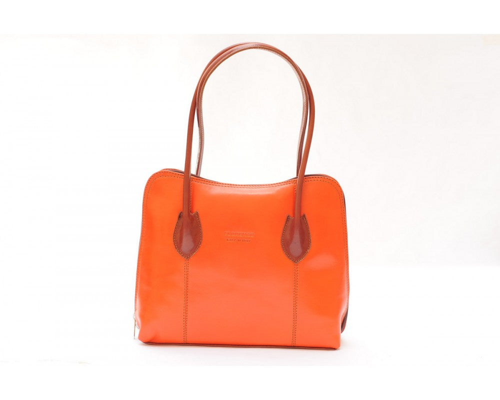 Italian shoulder and handbag with double leather handle - Orange/Brown