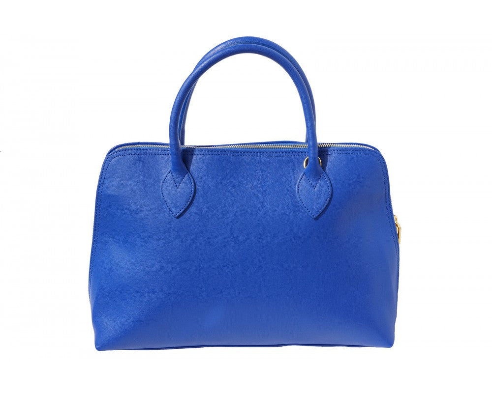Italian Saffiano leather business bag for women - Electric Blue