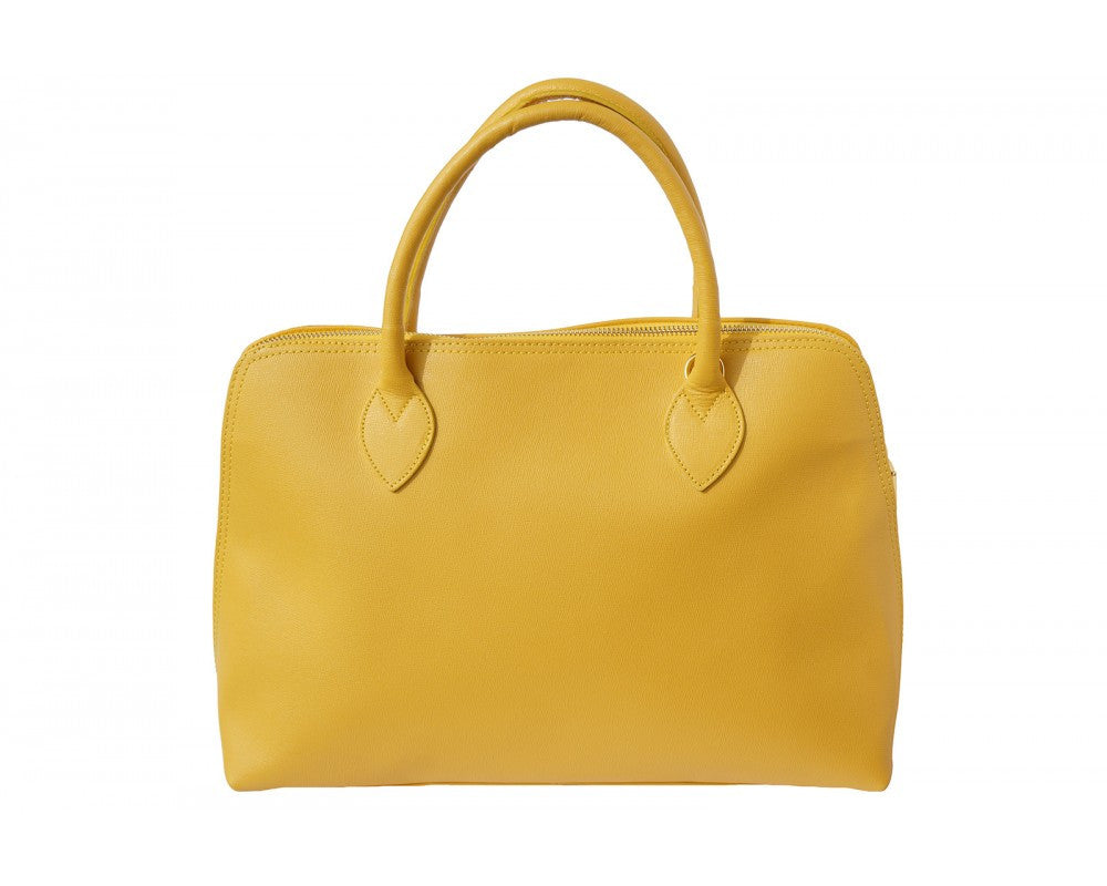 Italian Saffiano leather business bag for women - Yellow