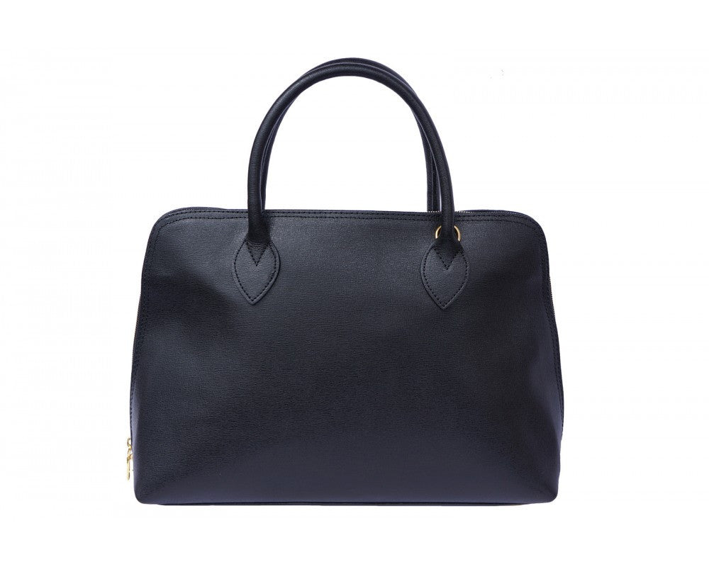 Italian Saffiano leather business bag for women - Black