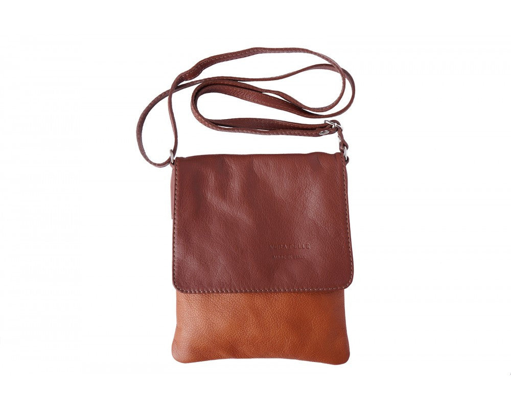 Italian Flat Shoulder Bag for Women - Leather Brown
