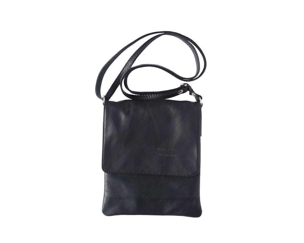 Italian Flat Shoulder Bag for Women - Black