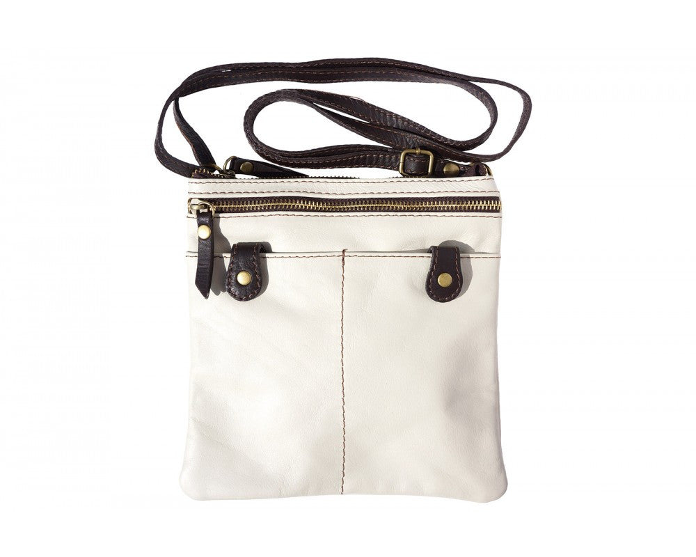 Italian small crossbody bag unisex - Beige/Dark Brown