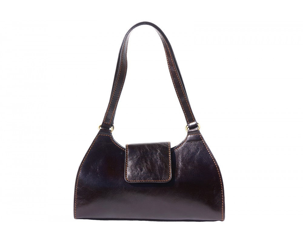 Italian Hand-bag with double handle for women - Dark Brown