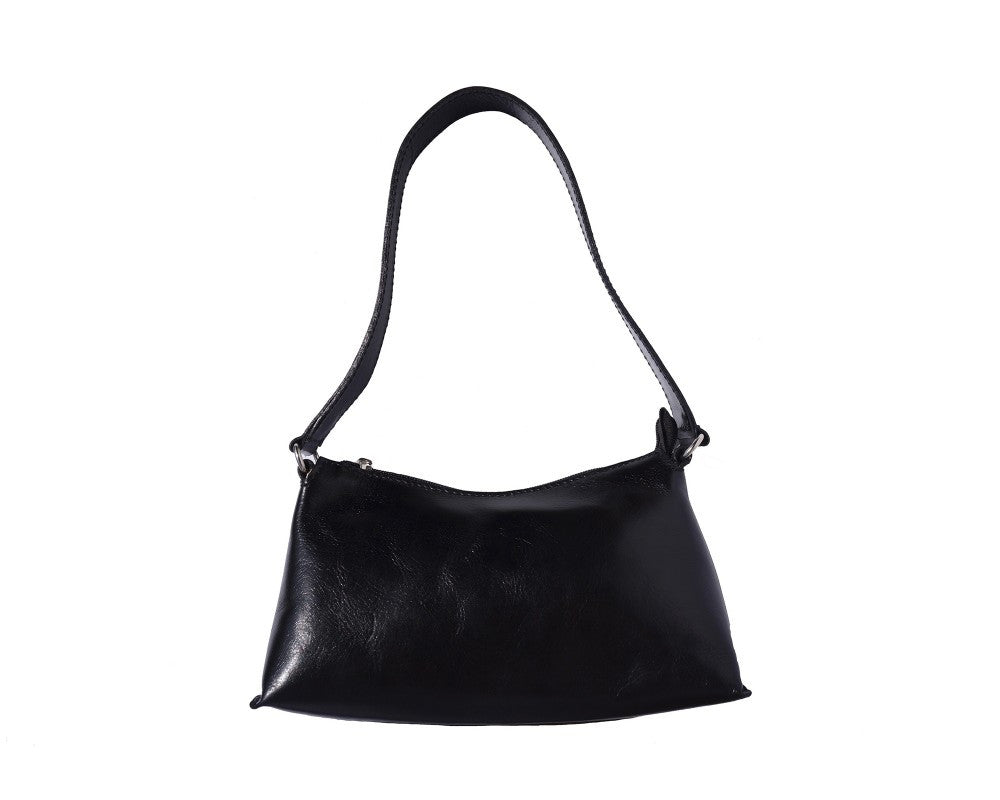 Italian shoulder and handbag with single handle - Black