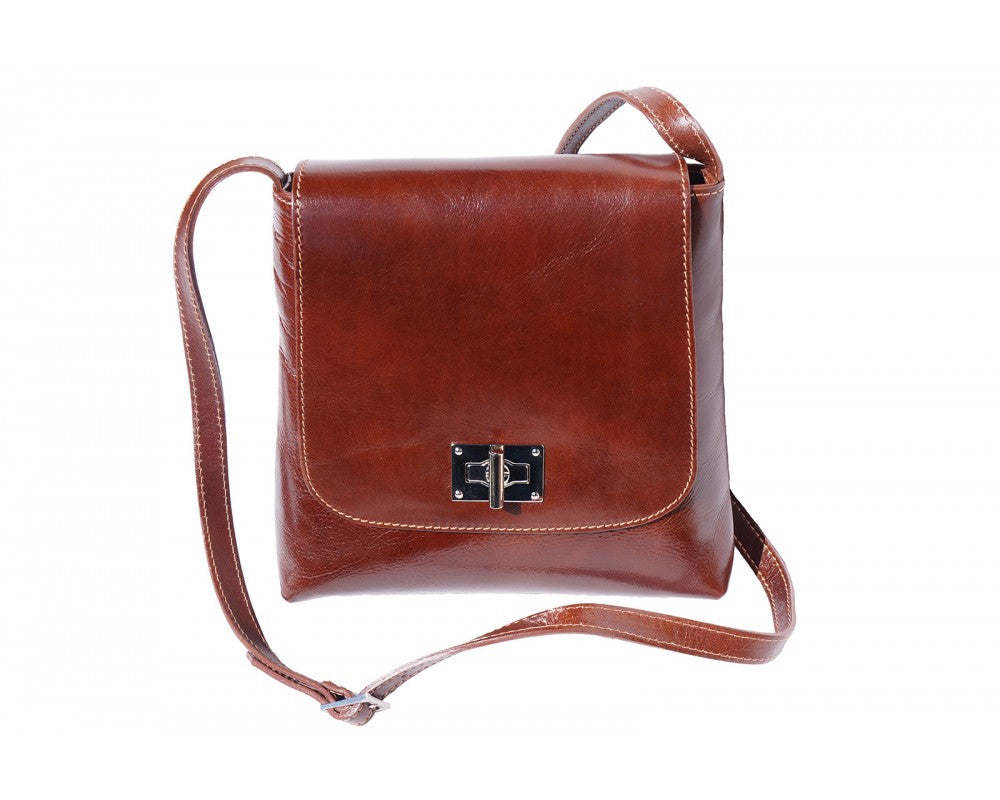 Italian Medium flat leather bag for women - Brown