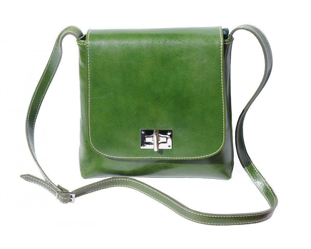 Italian Medium flat leather bag for women - Green