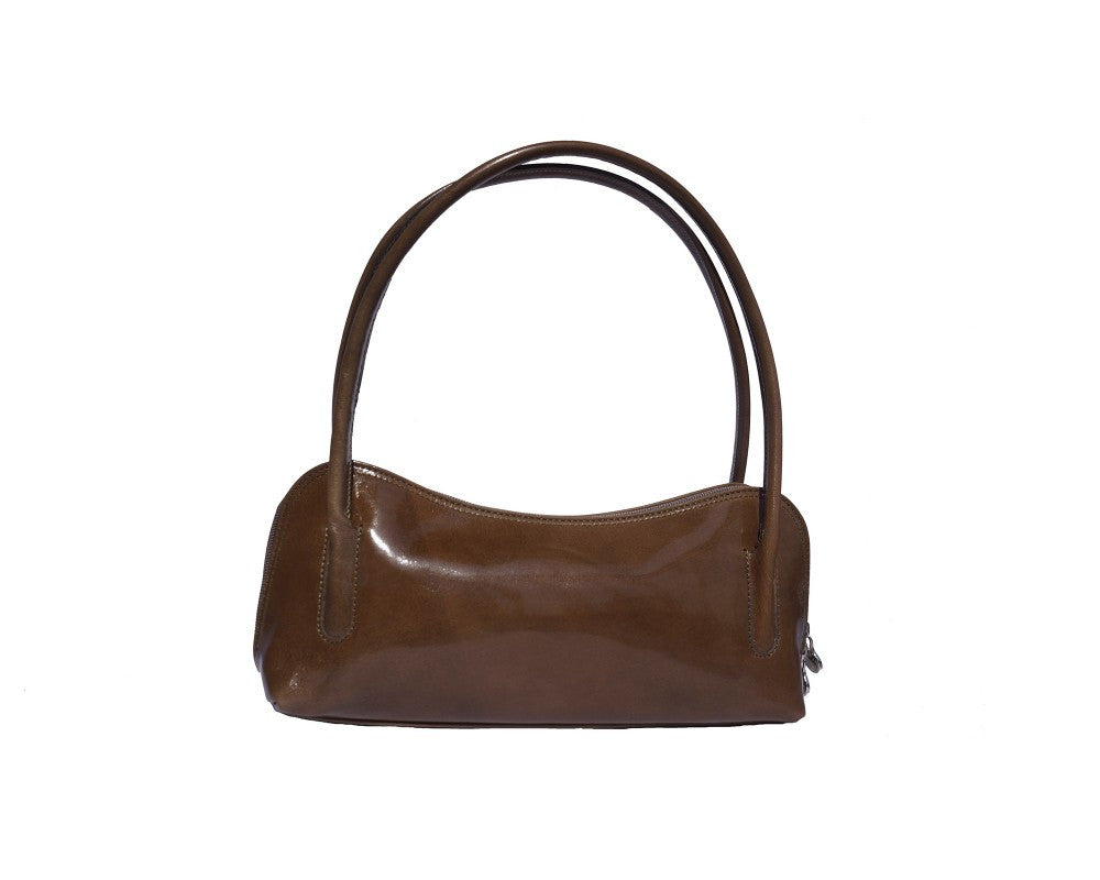 Italian shoulder and handbag with double handle - Dark Taupe