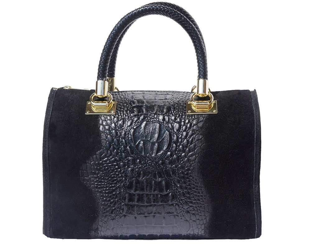 Italian Handbag 'Bauletto' with  golden hardware for women - Black