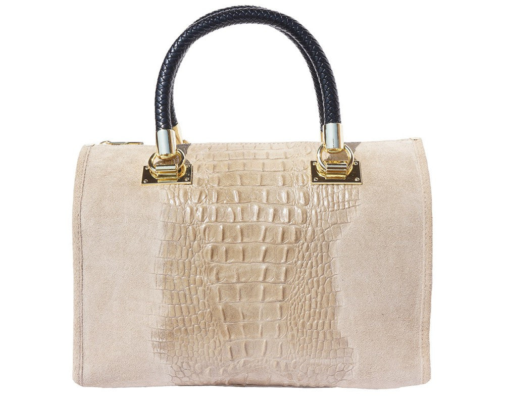 Italian Handbag 'Bauletto' with golden hardware for women - Light Taupe