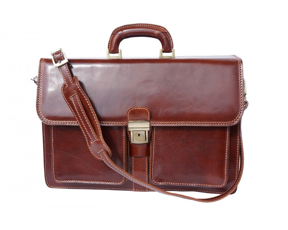 Italian Leather Briefcase for Men - Brown
