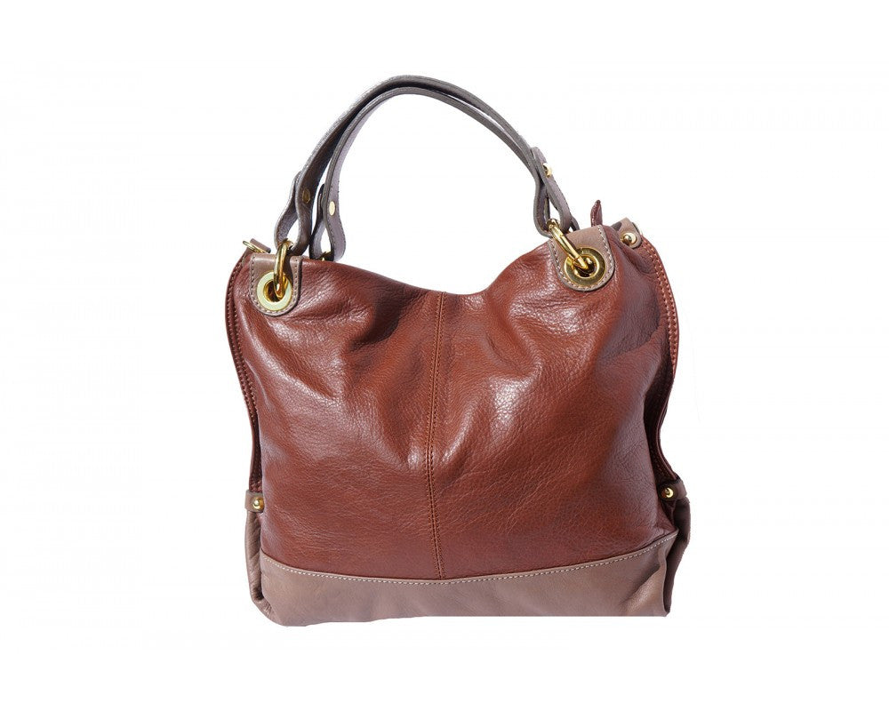 Italian Handbag with double handle for women - Brown/Taupe