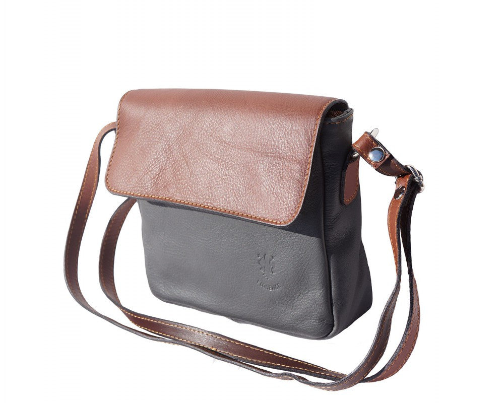 Italian shoulder bag for women - Grey / Brown