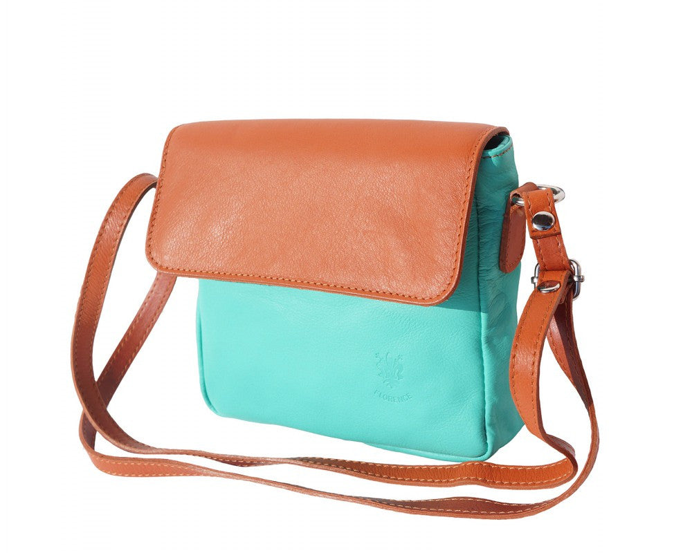 Italian shoulder bag for women - Turquoise/Leather