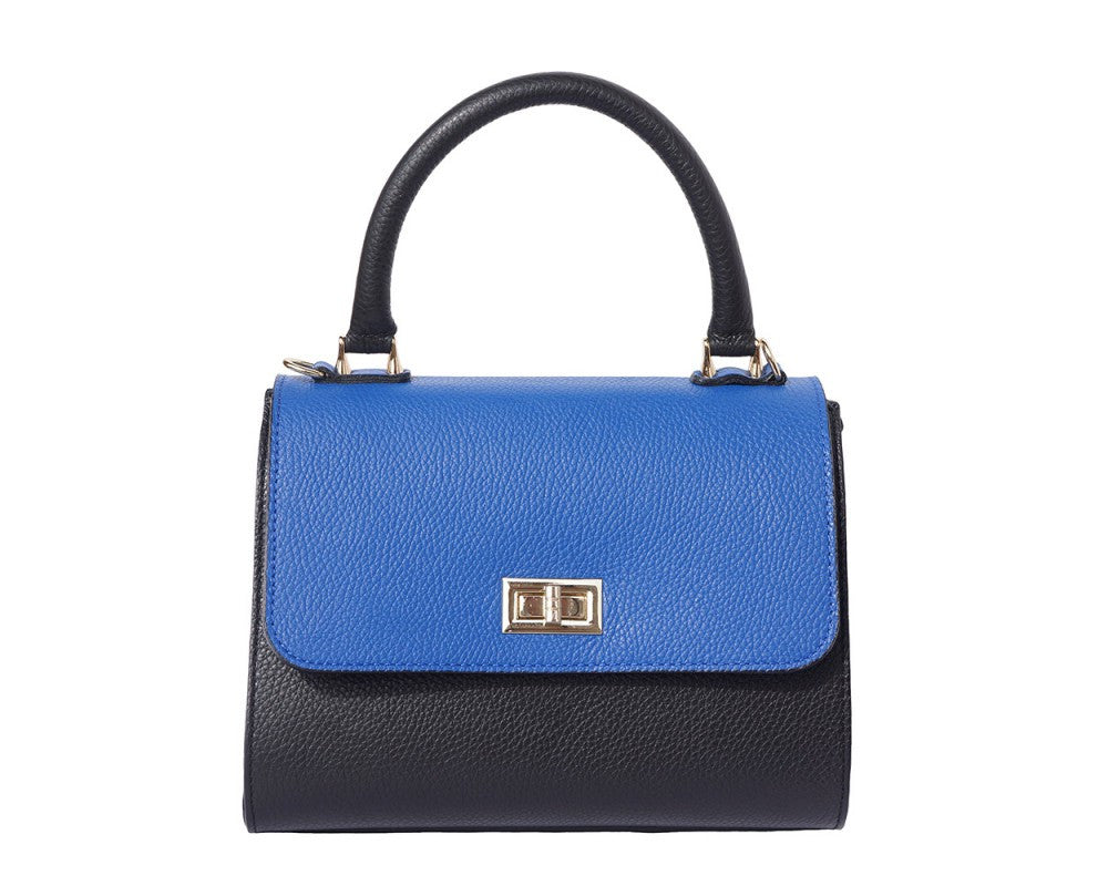 Italian Bowler bag with side flaps for Women - Black/Blue/Taupe