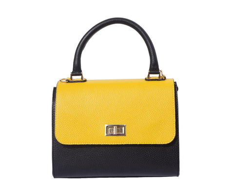 Italian Bowler bag with side flaps for Women - Black/Yellow/White