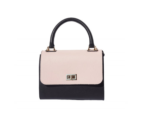Italian Bowler bag with side flaps for Women - Black/Pink/Taupe
