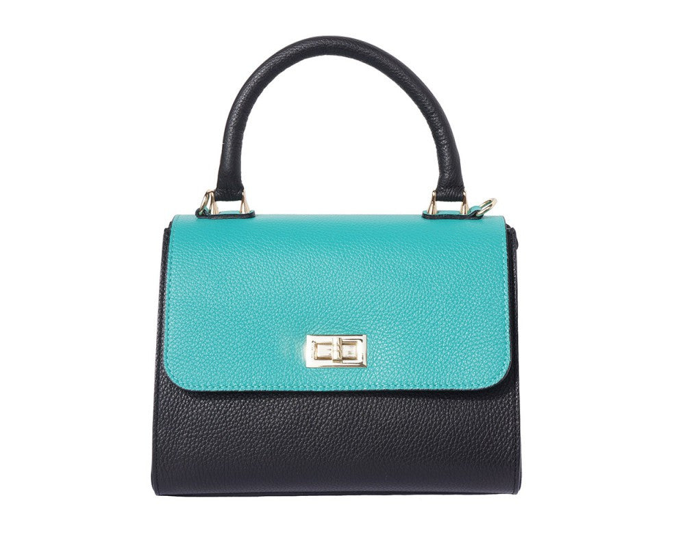 Italian Bowler bag with side flaps for Women - Black/Turquoise/White