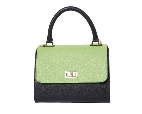 Italian Bowler bag with side flaps for Women - Black/Green