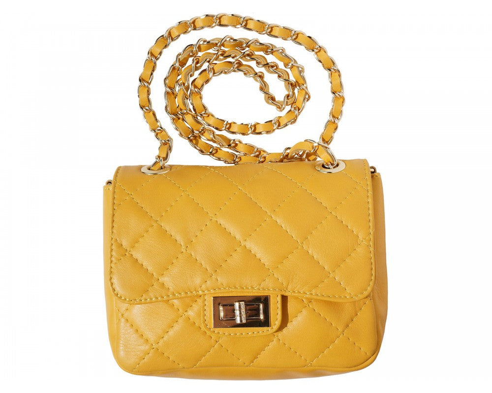 Italian Quilted leather bag 'Be Exclusive' with single handle and chain - Yellow