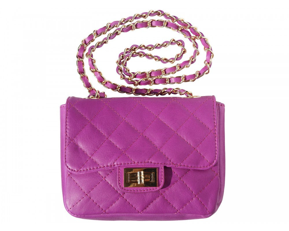 Italian Quilted leather bag 'Be Exclusive' with single handle and chain - Purple