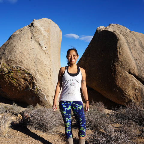 Dynamite Starfish artist, Leslie Sam Kim at the Buttermilk Boulders. Bishop, CA.
