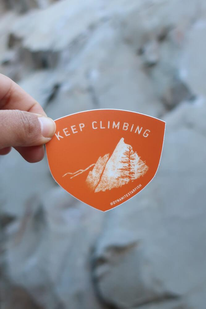 "Keep Climbing Mountains — 3"" Sticker - Dynamite Starfish"