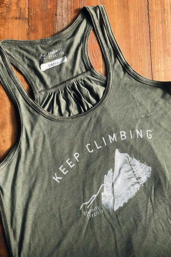 Keep Climbing Women's Gathered Racerback Tank — Pine Forest - Dynamite Starfish