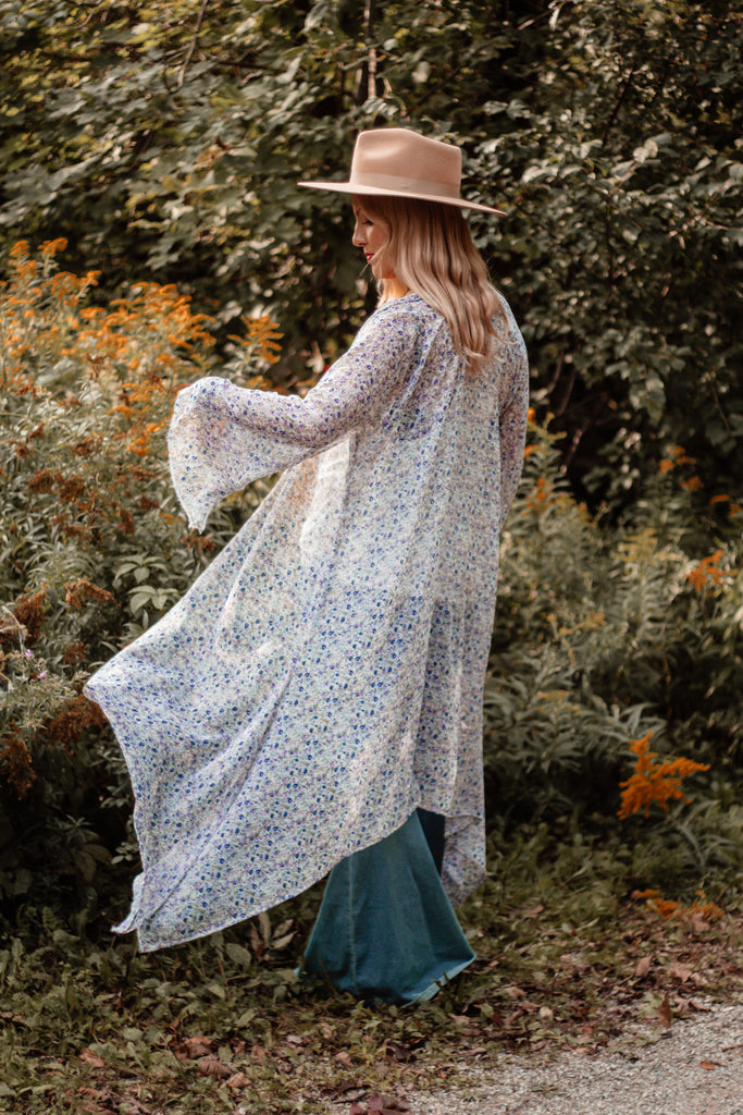 The Loved Textile duster - DITSY FLORAL BELL SLEEVE