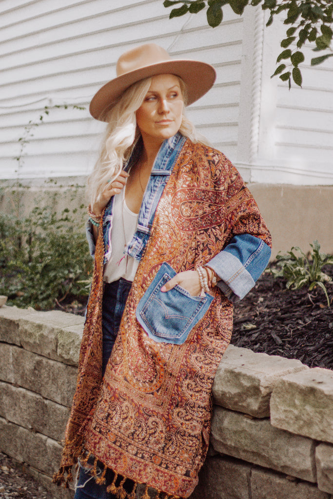 Denim Project: Paisley Boho- DARKWASH