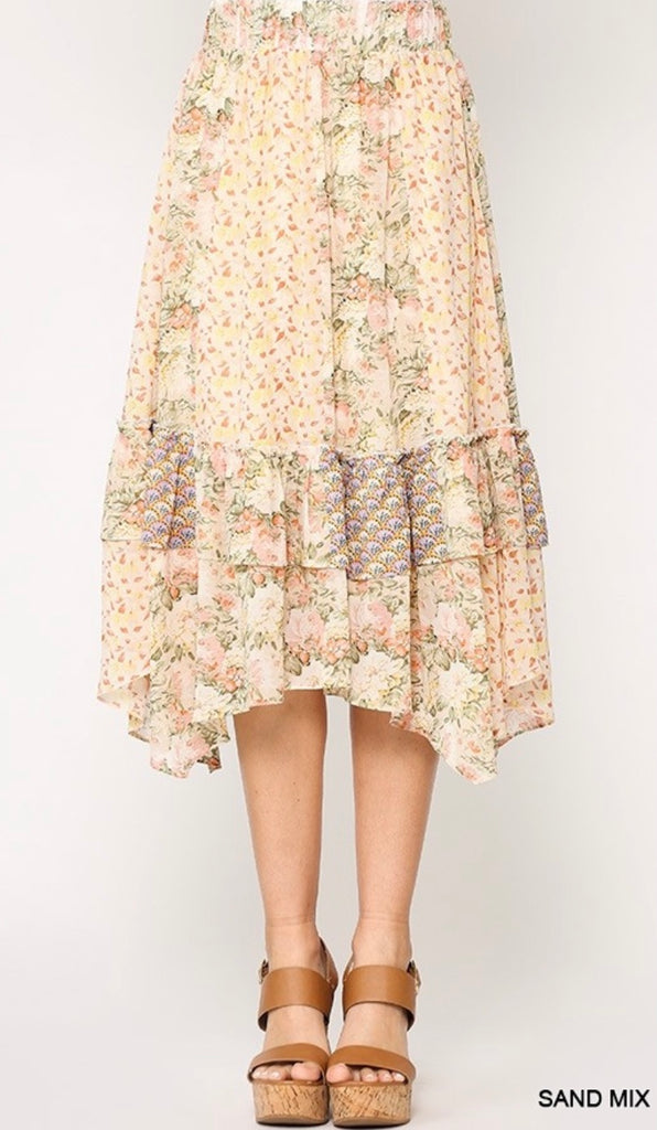 Elleflower - Peach Patchwork Midi Skirt