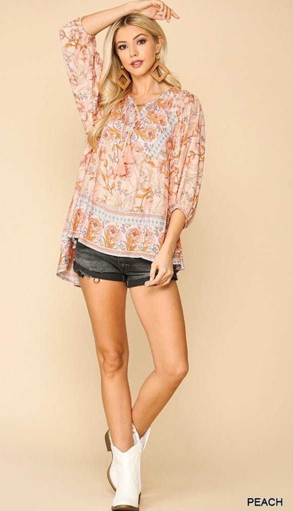 Elleflower - Peach Peacekeeper Blouse