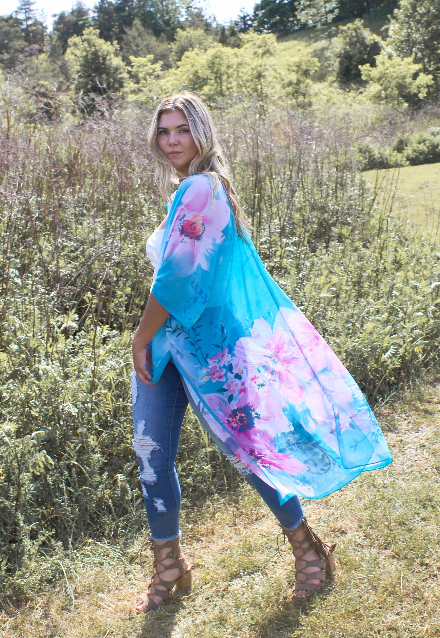 The Lovers Land High-Low Duster - A Q U A