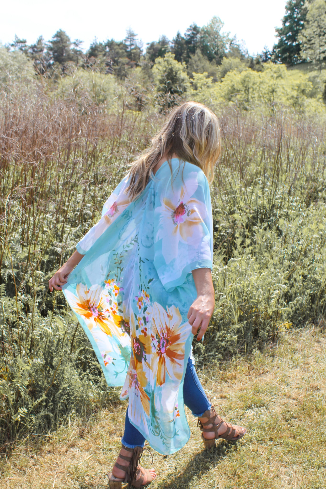 The Lovers Land High-Low Duster - S E A F O A M