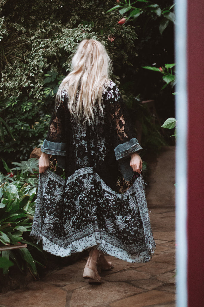 Denim Project: Loved Textile Lace - PAISLEY DARKWASH DUSTER