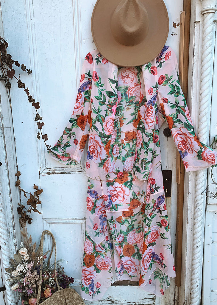 Little wing maxi jacket : rose bush - P E A C H