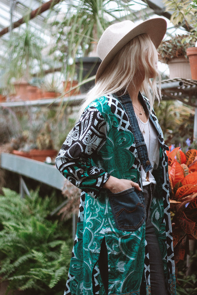 Denim Project: Loved Textile jacket - SEA GREEN