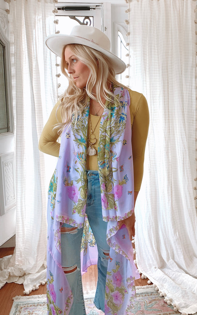 The Mayflower Duster Vest : wild bloom - A M E T H Y S T