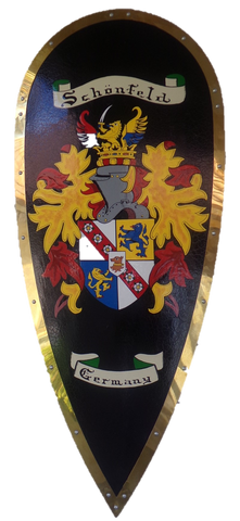 "34"" x 16"" Conquest Battle Shield Hand Painted Coat of Arms"